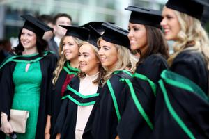 Students celebrating after graduating from Ulster University today. Pic by Paul Moane / Aurora PA