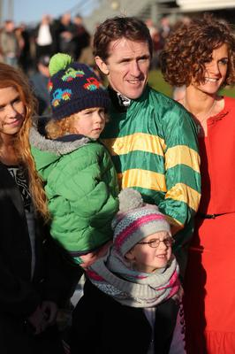 Press Eye - Belfast Northern - Ireland 1st November 2013  Northern Ireland Festival of Racing at Down Royal Racecourse - Day 1  Tony McCoy with his family  Picture by Kelvin Boyes / Press Eye.