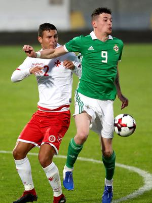 Press Eye - Belfast -  Northern Ireland - 06th September 2019 - Photo by William Cherry/Presseye   Northern Ireland's David Parkhouse with Malta's Jean Borg during Friday nights Under-21 Euro Qualifier at the Showgrounds, Ballymena.   Photo by William Cherry/Presseye