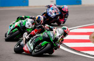 Lean machine: Jonathan Rea (1) on his way to third place finish at Donington yesterday