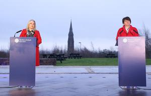 First Minister Arlene Foster and deputy First Minister Michelle O'Neill pictured at the Executive news conference at the 'Hill of the O'Neill' venue in Dungannon, Co Tyrone. Photos: Kelvin Boyes / Press Eye.