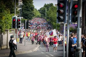 SEA OF COLOUR!. . . .The 2016 Hughes Insurance Foyle Cup parade makes its way in the Northland Road, Derry on Tuesday morning. (Photo: Jim McCafferty Photography)