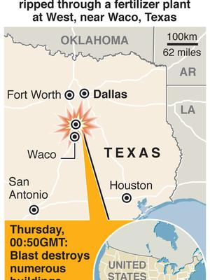 Scores of people are reported injured and an unknown number of others killed after a huge explosion ripped through a fertilizer plant at West, near Waco, Texas. Graphic shows location of explosion