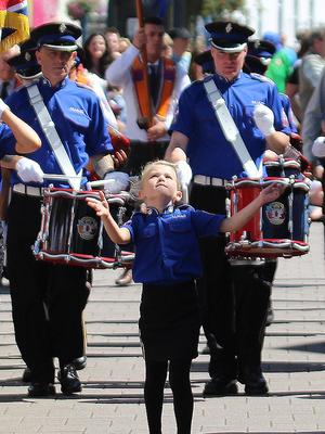 COLERAINE A young girl show her skills as she leads her band in Coleraine twelfth.PICTURE MARK JAMIESON.