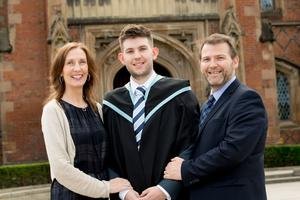 Celebrating success at Queen's University Belfast is Jack Owens pictured here with his parents Lesley and Trefor Owens. Jack is graduating with a degree in Music Technology.
