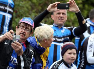 10th May 2014  Photo by William Cherry/Presseye  Fans line the route to watch the peloton make it's way through Ballintoy during Stage 2 of the 97th Giro dÄôItalia. The 219km stage started in Belfast and travelled out the North Coast before finishing at the City Hall, Belfast.
