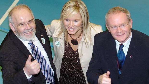 PACEMAKER, BELFAST, 8/3/2007:  Francie Molloy, Michelle O'Neill and Martin McGuinness of Sinn Fein celebrate being elected in the first count in the Mid Ulster constituency in the Assembly election count in Ballymena today. PICTURE BY STEPHEN DAVISON
