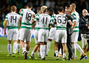 Celtic manager Brendan Rodgers celebrates with his team after the UEFA Champions League Play-Off, First Leg match at Celtic Park, Glasgow.