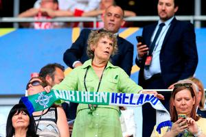 Kate Hoey shows her support in the stands during the UEFA Euro 2016, Group C match at the Stade de Nice, Nice. Jonathan Brady/PA Wire.