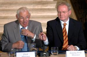 First and Deputy First Minister Ian Paisley and Martin McGuinness at Stormont at the first British Irish Council meeting 2007.