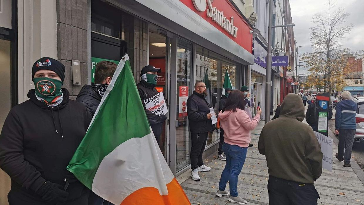 Republican dissidents in protests outside Santander banks across NI