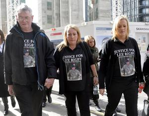 The family of murdered fusillier Lee Rigby arrive at the old Bailey in London to hear the sentencing of Michael Adebolajo and Michael Adebowale who were convicted of his murder, (left to right) stepfather Ian Rigby, mother Lyn Rigby and sister Sara McClure.