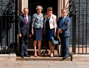 Theresa May in Downing Street with the DUP's Nigel Dodds, Arlene Foster and Jeffrey Donaldson