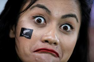 A New Zealander supporter reacts prior to  a Pool D match of the 2015 Rugby World Cup between New Zealand and Namibia at the Olympic stadium, east London, on September 24, 2015.   AFP PHOTO / ADRIAN DENNIS  RESTRICTED TO EDITORIAL USE, NO USE IN LIVE MATCH TRACKING SERVICES, TO BE USED AS NON-SEQUENTIAL STILLSADRIAN DENNIS/AFP/Getty Images
