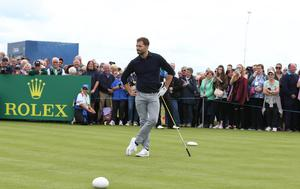 Jamie Dornan tees off in the Dubai Duty Free Irish Open Hosted by the Rory Foundation Invitational Pro-Am at Portstewart Golf Club, Co.Derry / Co. Londonderry, Northern Ireland. Picture by Matt Mackey / presseye.com
