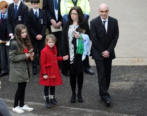Oisin Mc Grath Funeral - St Patrick's Chruch - Holywell, Co Fermanagh Presseye Declan Roughan  (L-R) Oisin's sisters Ciana and Ciarenn and his mother Sharon and father Nigel  arrive at St Patrick's Church  The funeral took place yesterday of Oisin McGrath (15 September 2001 - 12 February 2015) who died following an incident at his school, St Michael's College Enniskillen.