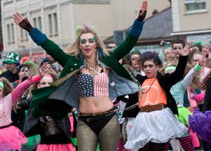 A dancer from the Dolphin Group at the All KInds of Everything Spring Carnival in Derry~Londonderry as part of a weekend of celebrations marking St. Patrick's Day. Picture Martin McKeown. 17.3.13