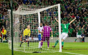 Northern Ireland's Josh Magennis (not pictured) scores his side's second goal of the game during the UEFA European Championship Qualifying match at Windsor Park, Belfast. PRESS ASSOCIATION Photo. Picture date: Thursday October 8, 2015. See PA story SOCCER N Ireland. Photo credit should read: Liam McBurney/PA Wire.