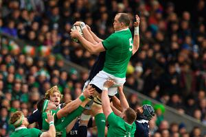 Ireland's lock Devin Toner catches a line out ball during the Six Nations international rugby union match between Scotland and Ireland at Murrayfield in Edinburgh, Scotland on Febuary 4, 2017.   / AFP PHOTO / Paul ELLISPAUL ELLIS/AFP/Getty Images