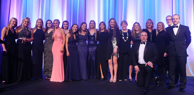 Girl power: Methodist College First XI Girls Hockey Team were delighted to win the Young Team of the Year award which they picked up from Ireland star Eugene Magee and Scott Hayes, Chairman of Subway Northern Ireland