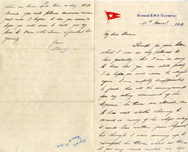 Letter written by Henry Wilde, second in command officer of the ill-fated Titanic, which is to be sold at auction in Devizes, Wiltshire. PA