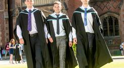 Pictured (l-r) are friends Cillian Darragh from Randalstown, Darryl Branagan from Kilcoo and Oisin Howell from Fivemiletown, celebrating after they graduated from Queen's University Belfast with a BSc honours in agricultural technology.