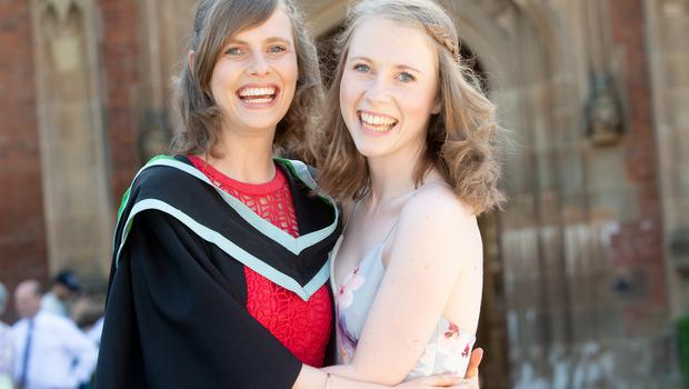 Anna Monaghan from Carryduff has graduated from Queen's University Belfast with a BSc in Food Quality Safety and Nutrition with Professional Studies. She is pictured celebrating with her twin sister Helen.