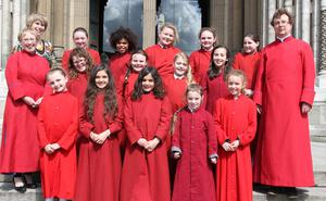 Pictured with some of the schoolchildren are assistant Master of the Choristers Terese Woodfield, head of Vocal Tuition Catherine Harper and Master of the Choristers David Stevens at St Annes Cathedral. Pic: Colm O'Reilly/ Sunday Life.