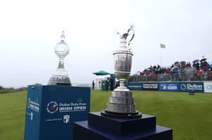 Press Eye - Belfast - Northern Ireland - 9th July 2017   Day four of the Dubai Duty Free Irish Open Hosted by the Rory Foundation at Portstewart Golf Club, Co.Derry / Co. Londonderry, Northern Ireland.  The Irish Open and The Open trophy on the 1st tee  Picture by Matt Mackey / presseye.com