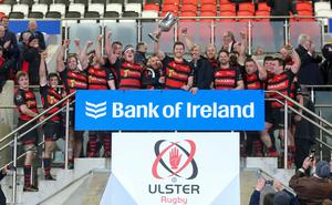 Friday 6th March 2020 | Armagh RFC vs Ballynahinch RFC  City of Armagh RFC captain Robert Whitten celebrate winning the Bank Of Ireland Ulster Senior Cup after his side defeated Ballynahinch RFC in the Bank Of Ireland Ulster Senior Cup Final at Kingspan Stadium, Ravenhill Park, Belfast, Northern Ireland. Photo by John Dickson / DICKSONDIGITAL