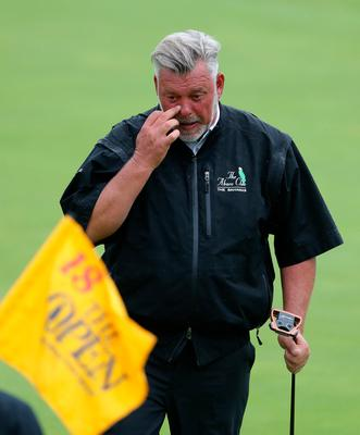 Darren Clarke made it a clean sweep as he repeated the triple bogey of fellow Northern Irishmen Rory McIlroy and Graeme McDowell on Royal Portrush's 18th.