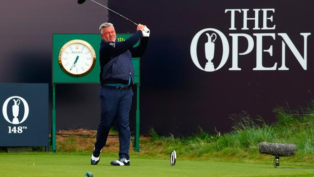 PORTRUSH, NORTHERN IRELAND - JULY 18: Darren Clarke of Northern Ireland plays the opening tee shot off the first tee during the first round of the 148th Open Championship held on the Dunluce Links at Royal Portrush Golf Club on July 18, 2019 in Portrush, United Kingdom. (Photo by Francois Nel/Getty Images)