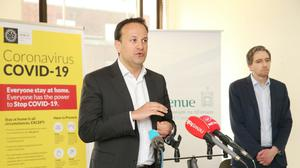 Handout photo issued by Photocall Ireland of Taoiseach Leo Varadkar TD speaking at a visit to a contact tracing centre in Dublin.