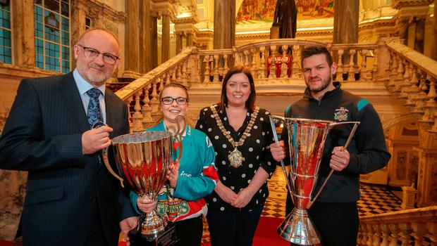 Big honour: Lord Mayor Deirdre Hargey hosted a reception at City Hall to mark the success of the Belfast Giants last night. She is joined by Eric Porter, Chairman of the Odyssey Trust, Alisha Duncan and Adam Keefe, Giants' head coach
