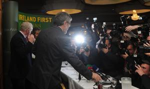 PACEMAKER BELFAST   04/05/2014 Sinn Fein Leader Gerry Adams speaks at a press conference at the Balmoral Hotel in West Belfast this evening. Adams was released this evening after 4 days of questioning by the PSNI in relation to the murder of Jean McConville in 1972.  Photo Colm Lenaghan/Pacemaker Press