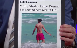 The Belfast Telegraph article about Jamie Dornan featured on the Stephen Colbert show.
