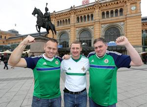 Northern Ireland fans pictured in Hannover before the World Cup 2018 Qualifier against Germany. October 2016