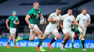 Jacob Stockdale breaks away to score his try for Ireland.