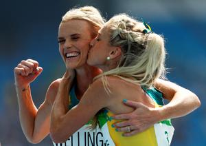 RIO DE JANEIRO, BRAZIL - AUGUST 16:  Eloise Wellings (L) and Genevieve Lacaze of Australia react after the Women's 5000m Round 1 - Heat 2 on Day 11 of the Rio 2016 Olympic Games at the Olympic Stadium on August 16, 2016 in Rio de Janeiro, Brazil.  (Photo by Patrick Smith/Getty Images) *** BESTPIX ***
