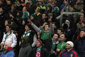 Northern Ireland v Israel World Cup qualifier at Windsor Park in Belfast. Northern Ireland fans pictured during the match