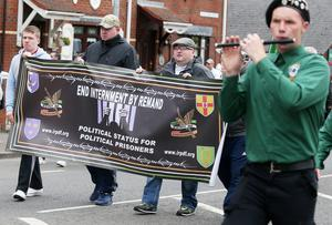 The anti-internment parade makes its way back after being stopped by police on the Oldpark Road in north Belfast. Pic: Jonathan Porter/Press Eye.