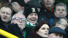 FIFA President Gianni Infantino donned some Glentoran gear in an effort to keep warm at the Oval.