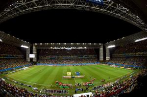 CUIABA, BRAZIL - JUNE 17:  A general view of the stadium during the 2014 FIFA World Cup Brazil Group H match between Russia and South Korea at Arena Pantanal on June 17, 2014 in Cuiaba, Brazil.  (Photo by Christopher Lee/Getty Images)