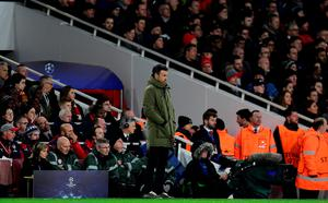 Barcelona's coach Luis Enrique watches his players from the touchline during the UEFA Champions League round of 16 1st leg football match between Arsenal and Barcelona at the Emirates Stadium in London on February 23, 2016.   / AFP / JAVIER SORIANOJAVIER SORIANO/AFP/Getty Images