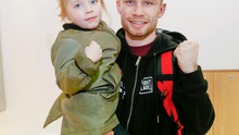 Carl Frampton with his daughter Carla arriving home to Belfast on February 28, 2016. ( Photo by Kevin Scott / Presseye )