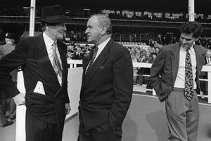 File Pics Albert Reynolds Has Died. Taoiseach and Fianna Fail leader Albert Reynolds speaking to businessman Michael Smurfit during the Jefferson Smurfit Memorial race day meeting at the Curragh. Tony Smurfit Junior is on the right. 19/9/1992 Pic Photocall Ireland