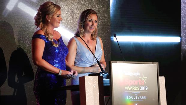 Press Eye - Belfast - Northern Ireland - 20th January  2020   Ruth Gorman and Claire McCollum  pictured at the 2019 Belfast Telegraph Sport Awards at the Crowne Plaza Hotel in Belfast.  Photo by Kelvin Boyes / Press Eye.