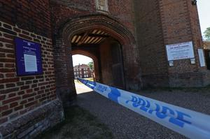 Police tape at the entrance to Lullingstone Castle in Eynsford, Kent, where a man has died after reports of a disturbance in the grounds on Thursday evening.