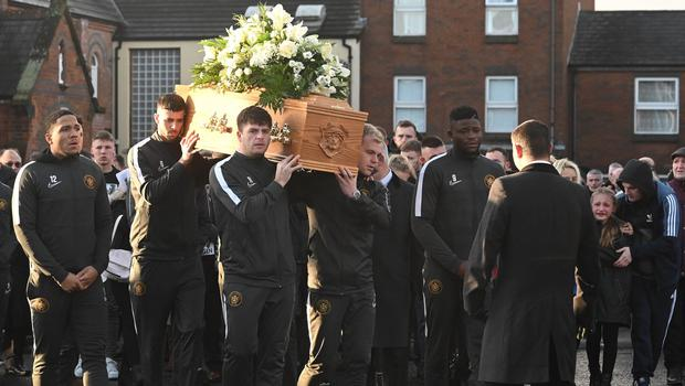 Team mates from Carrick during the Funeral of Irish League Footballer Jerry  Pic Colm Lenaghan/Pacemaker