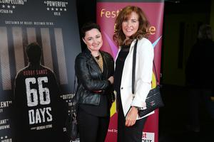 Press Eye Belfast - Northern Ireland - 31st July 2016    Professor Siobhan O'Neill and Professor Deirdre Heenan are pictured at the film premiere of Bobby Sands: 66 Days at the Omniplex Cinema at the Kennedy Centre in west Belfast.  The premiere was hosted with Féile An Phobail and West Belfast Film Festival.  Photo by Kelvin Boyes  / Press Eye